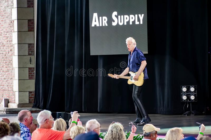 Graham Russell   from air supply, singing beautiful melody at Epcot in Walt Disney World 11. Orlando, Florida. March 26, 2019. Graham Russell   from air supply royalty free stock photos