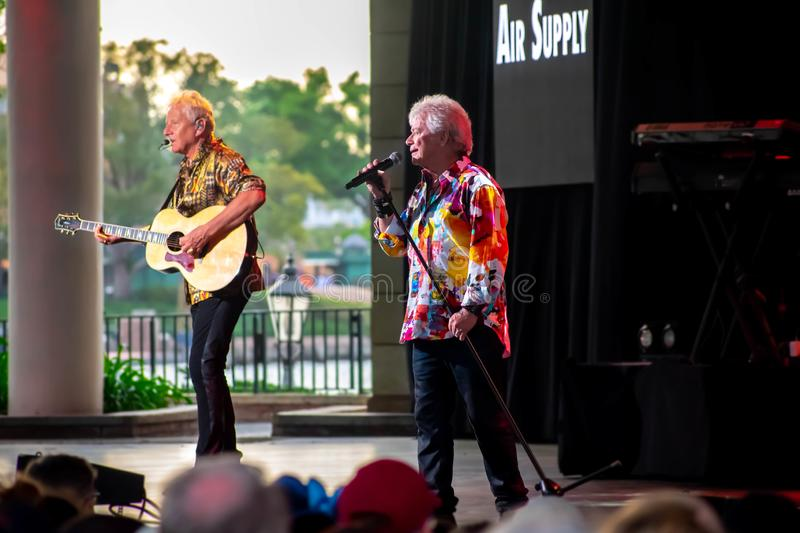 Graham Russell   from air supply, singing beautiful melody at Epcot in Walt Disney World 3. Orlando, Florida. March 26, 2019. Graham Russell   from air supply royalty free stock photo