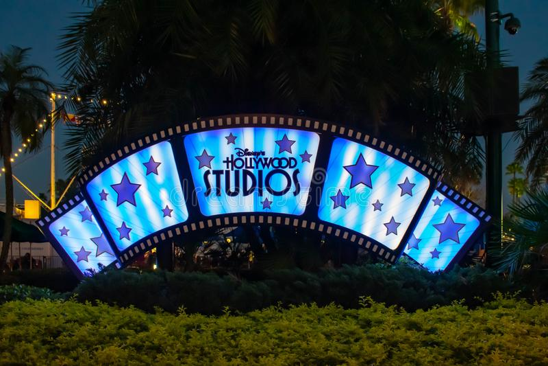 Illuminated Hollywood Studios sign at Walt Disney World 2. Orlando, Florida, March 27, 2019. Illuminated Hollywood Studios sign at Walt Disney World 2 royalty free stock image