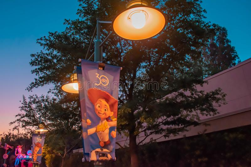 Jessie of Toy Story sign with streetlights in Hollywood Studios at Walt Disney World. stock photography