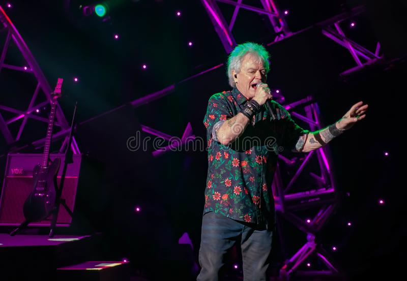 Russell Hitchcock from air supply, singing beautiful melody at Epcot in Walt Disney World 25. Orlando, Florida. March 26, 2019. Russell Hitchcock from air supply royalty free stock photography
