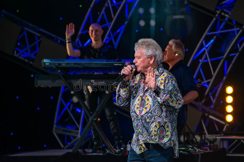 Russell Hitchcock  from air supply, singing beautiful melody at Epcot in Walt Disney World 1. Orlando, Florida. March 26, 2019. Russell Hitchcock  from air royalty free stock photo