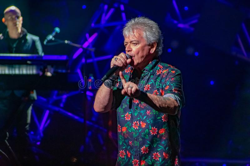 Russell Hitchcock  from air supply, singing beautiful melody at Epcot in Walt Disney World 16. Orlando, Florida. March 26, 2019. Russell Hitchcock  from air royalty free stock images