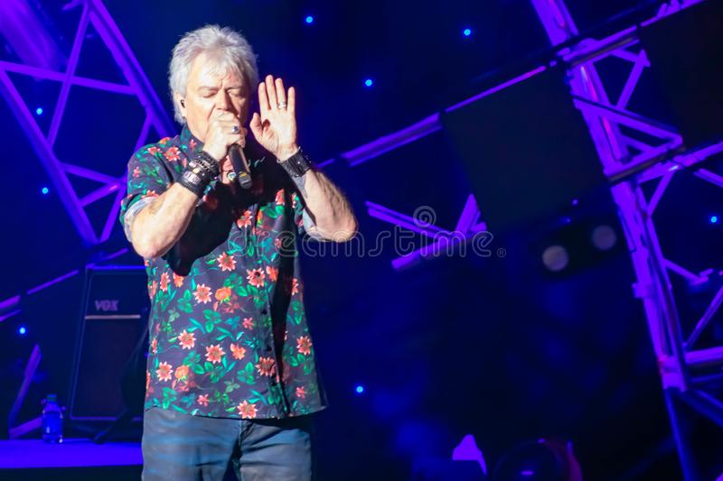 Russell Hitchcock  from air supply, singing beautiful melody at Epcot in Walt Disney World 15. Orlando, Florida. March 26, 2019. Russell Hitchcock  from air royalty free stock photography