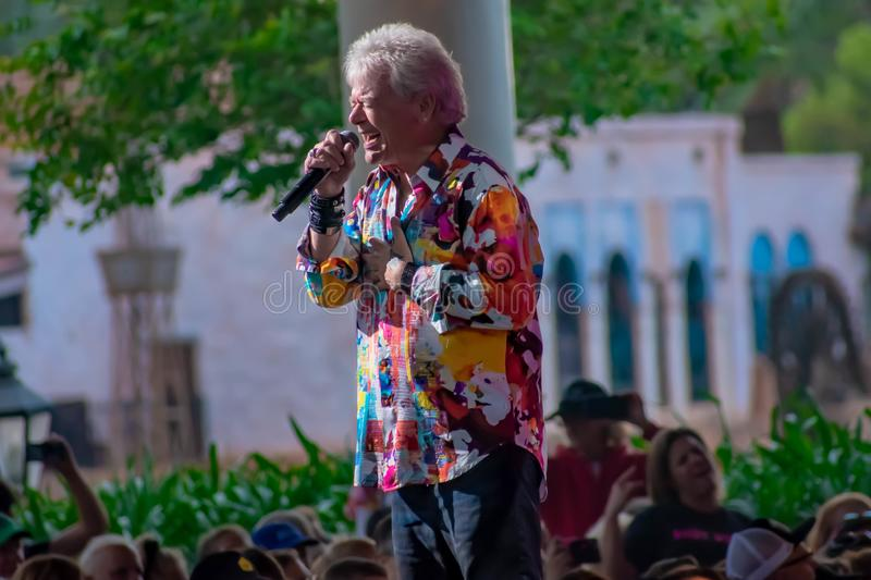 Russell Hitchcock  from air supply, singing beautiful melody at Epcot in Walt Disney World 32. Orlando, Florida. March 26, 2019. Russell Hitchcock  from air stock photography