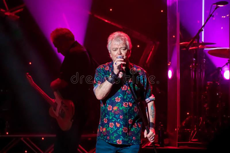 Russell Hitchcock  from air supply, singing beautiful melody at Epcot in Walt Disney World 22. Orlando, Florida. March 26, 2019. Russell Hitchcock  from air stock photography
