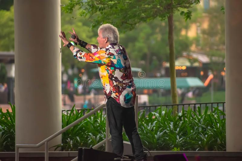 Russell Hitchcock  from air supply, singing beautiful melody at Epcot in Walt Disney World 33. Orlando, Florida. March 26, 2019. Russell Hitchcock  from air royalty free stock image