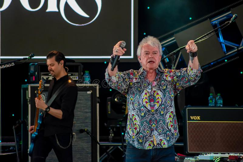 Russell Hitchcock  from air supply, singing beautiful melody at Epcot in Walt Disney World 11. Orlando, Florida. March 26, 2019. Russell Hitchcock  from air royalty free stock image