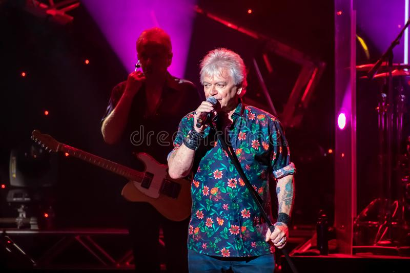 Russell Hitchcock  from air supply, singing beautiful melody at Epcot in Walt Disney World 24. Orlando, Florida. March 26, 2019. Russell Hitchcock  from air stock photography