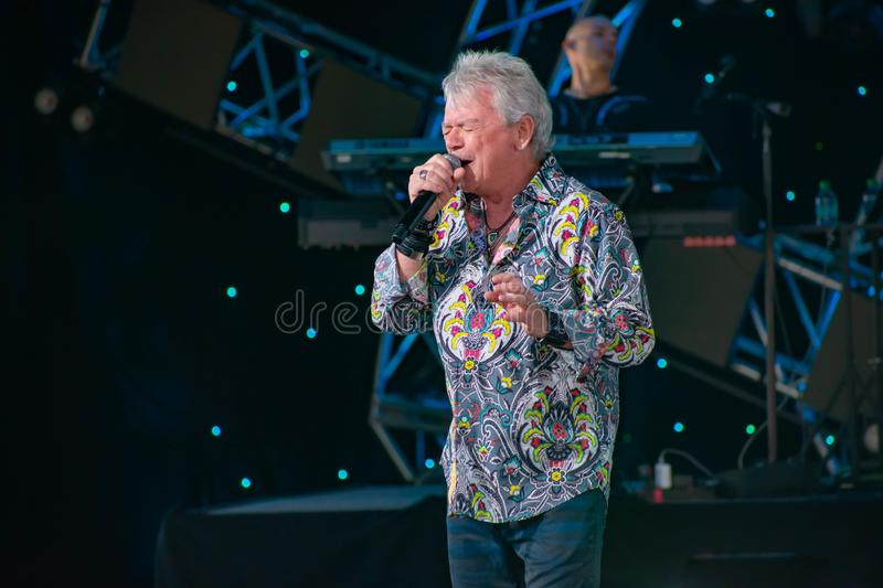 Russell Hitchcock  from air supply, singing beautiful melody at Epcot in Walt Disney World 10. Orlando, Florida. March 26, 2019. Russell Hitchcock  from air stock photography