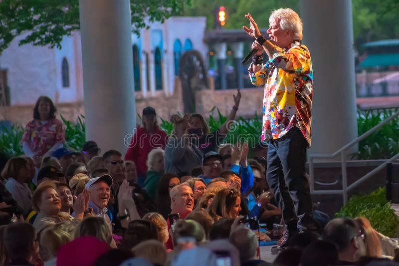 Russell Hitchcock  from air supply, singing beautiful melody at Epcot in Walt Disney World 31. Orlando, Florida. March 26, 2019. Russell Hitchcock  from air stock photos