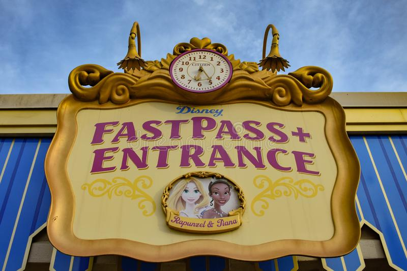 Top view of  Fatpass Entrance sign in Magic Kingdom at Walt Disney World 137. Orlando, Florida. March 19, 2019 Top view of  Fatpass Entrance sign in Magic stock photo