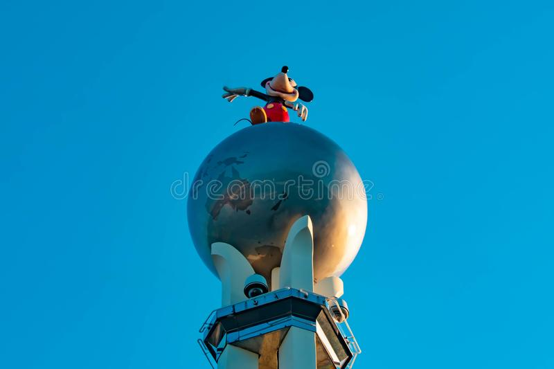 Top view of Mickey statue on Cross Roads of the World in Hollywood Studios at Walt Disney World . royalty free stock photos