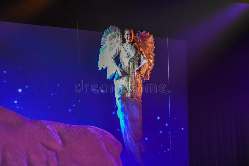 Angel in O Wondrous Night show on Christmas Celebration at Seaworld 3 stock photography