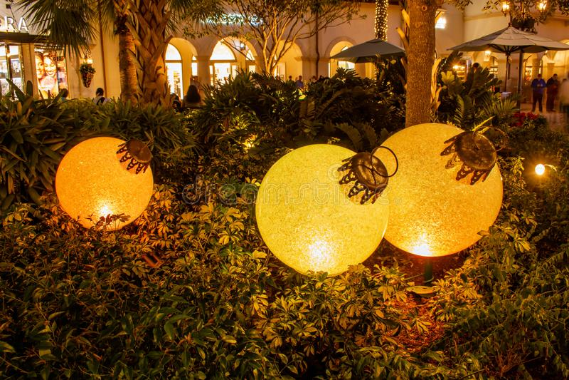 Christmas ball ornaments at tree in Lake Buena Vista 9. Orlando, Florida. November 29, 2019. Christmas ball ornaments at tree in Lake Buena Vista 9 stock images