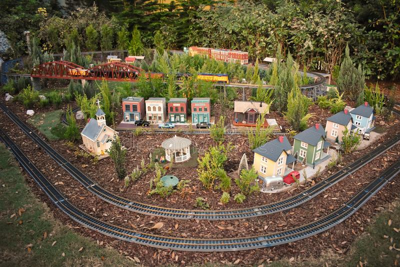 Miniature train, roads and beautiful small villa in International Drive area royalty free stock photography