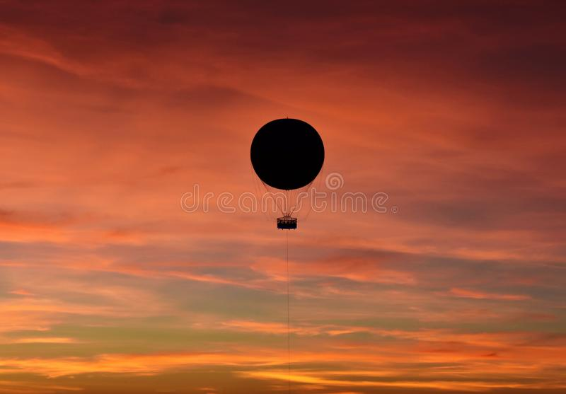 Panoramic view of air balloon on stock image