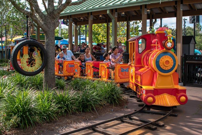 People enjoying Choo Choo Train in Sesame Street land at Seaworld 3. Orlando, Florida. November 06, 2019. People enjoying Choo Choo Train in Sesame Street land stock photography