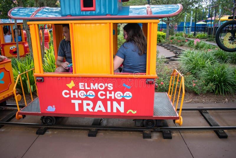 People enjoying Choo Choo Train in Sesame Street land at Seaworld 1. Orlando, Florida. November 06, 2019. People enjoying Choo Choo Train in Sesame Street land royalty free stock photos