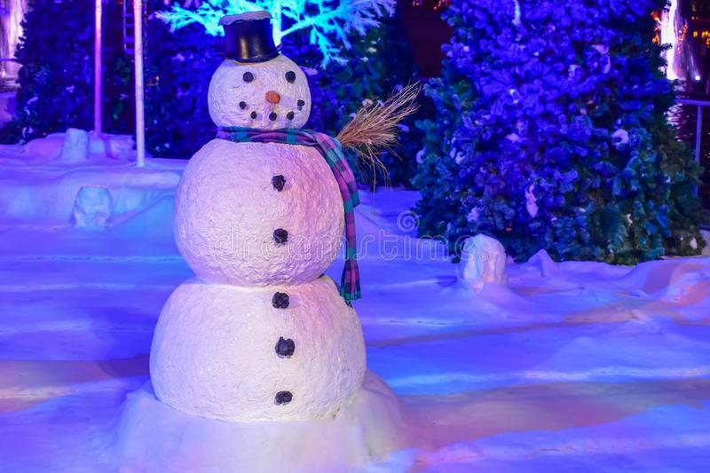 Snowman on Christmas Celebration at Seaworld. royalty free stock image