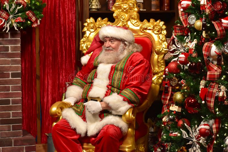 Sweet Santa Claus smiles with his look in International Drive area. stock photography