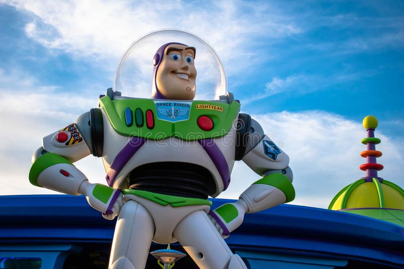 Top view of Buzz Light Yerar on sunset background at Hollywood Studios 98. royalty free stock photography