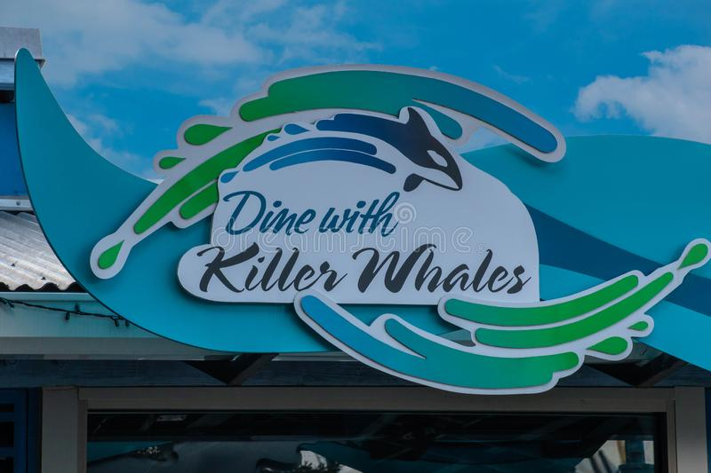 Top view fo Dine with Killer Whales sign at Seaworld. Orlando, Florida. November 06, 2019. Top view fo Dine with Killer Whales sign at Seaworld royalty free stock photo