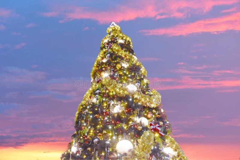 Orlando Florida November 15, 2018 upplyst julgran på öppen galleriabakgrund i sjöBuena Vista område arkivfoto