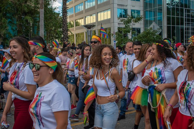 Colorful Pride Power community in Come Out With Pride Orlando parade at Lake Eola Park area 56 stock images