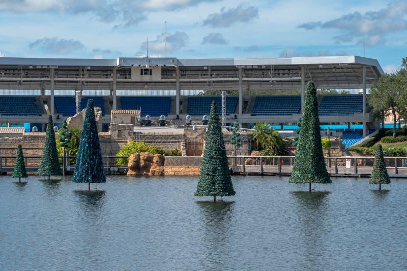 Panoramic view of Christmas trees and Bayside Stadium at Seaworld stock image