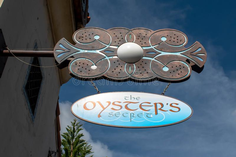 Top view of The Oysters Secret sign at Seaworld stock images