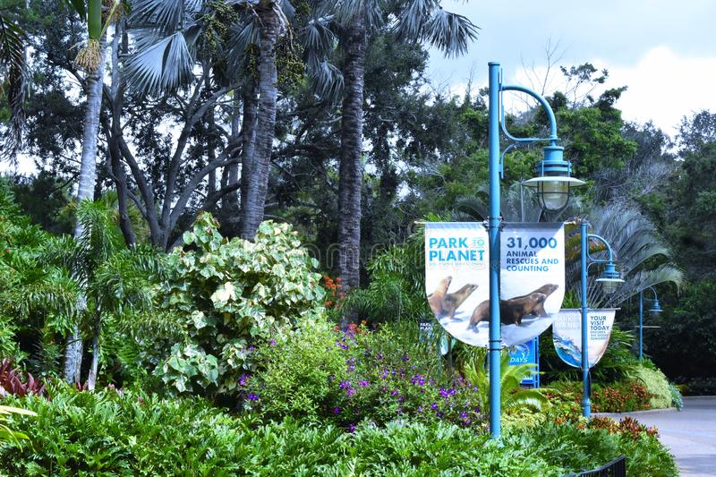 31,000 Animal Rescues Sign at Seaworld Theme Park. Orlando, Florida. September 29, 2018. 31000 Animal Rescues Sign at Seaworld Theme Park stock images