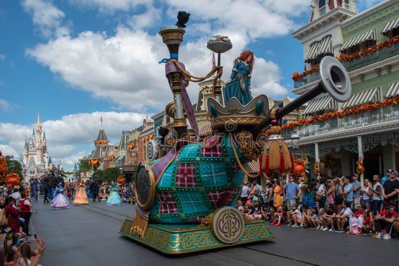 Top view of Brave in Disney Festival of Fantasy Parade at Magic Kigndom 5. Orlando, Florida. September 23, 2019. Top view of Brave in Disney Festival of Fantasy stock photo