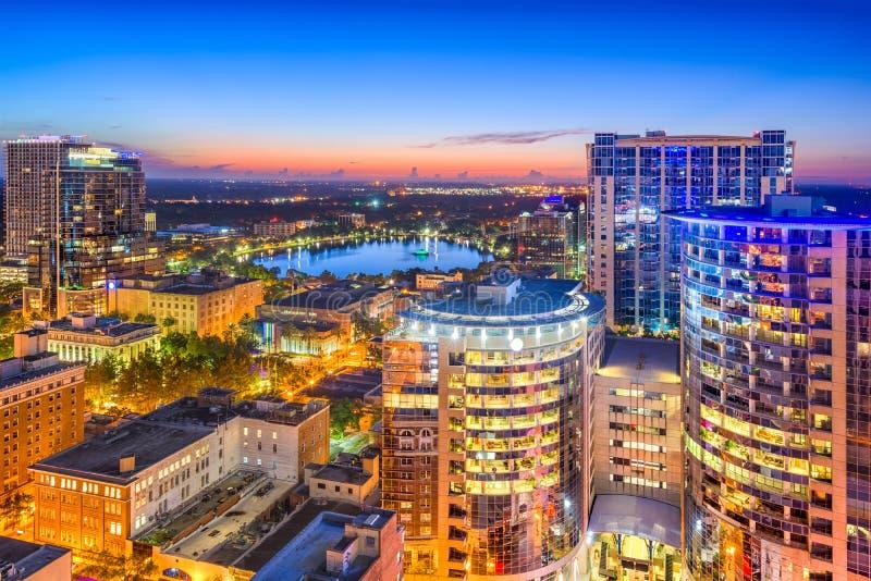 Orlando, Florida, USA. Aerial cityscape towards Eola Lake stock images