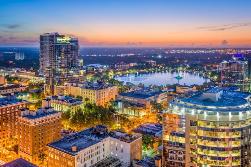 Orlando, Florida, USA. Aerial skyline towards Lake Eola stock photo