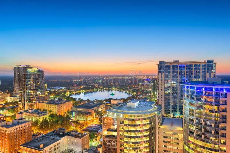 Orlando, Florida, USA aerial skyline towards Lake Eola. At dawn royalty free stock photography