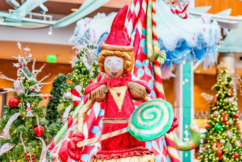 ORLANDO, FLORIDA, USA - DECEMBER, 2018: Colorful Christmas decoration at Mall at Millenia royalty free stock photography