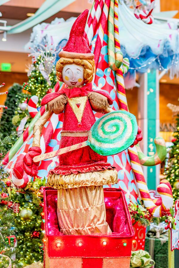 ORLANDO, FLORIDA, USA - DECEMBER, 2018: Colorful Christmas decoration at Mall at Millenia stock image
