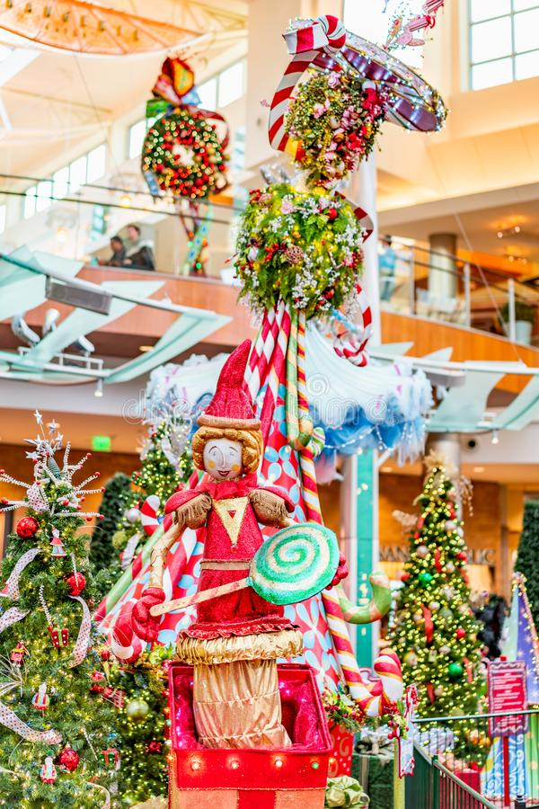 ORLANDO, FLORIDA, USA - DECEMBER, 2018: Colorful Christmas decoration at Mall at Millenia royalty free stock image