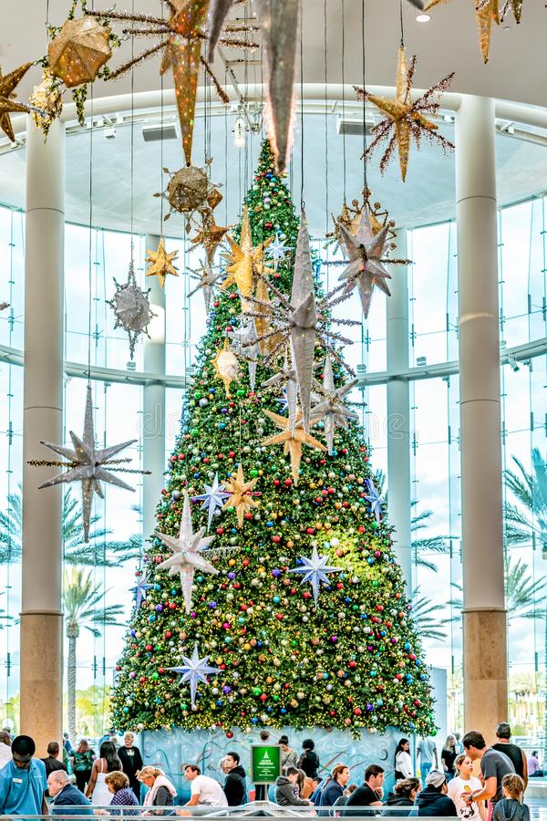 ORLANDO, FLORIDA, USA - DECEMBER, 2018: Colorful Christmas Tree decoration at Mall at Millenia stock photos