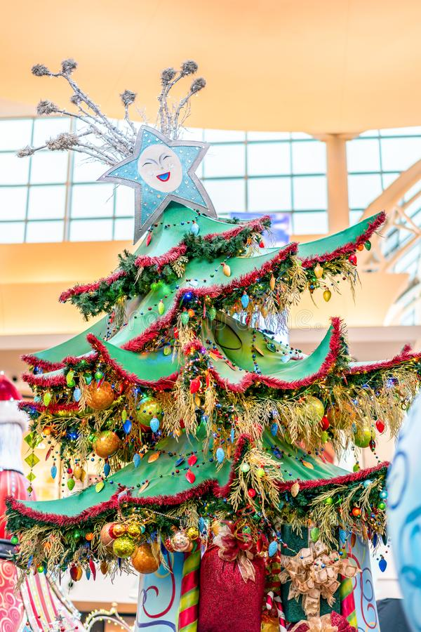 ORLANDO, FLORIDA, USA - DECEMBER, 2018: Colorful Christmas Tree decoration at Mall Mall at Millenia stock image