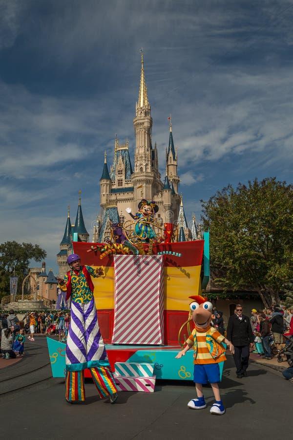 Disney main character Minnie Surprise Celebration parade on Main Street in Magic Kingdom at Walt Disney World. Orlando Florida,USA-December 11,2014:Disney main royalty free stock image