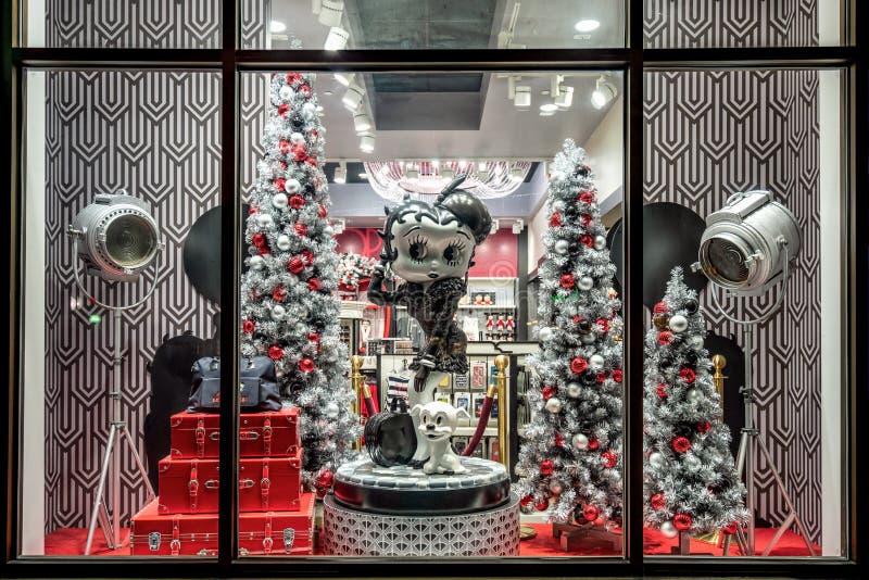 ORLANDO, FLORIDA, USA - DECEMBER, 2017: Betty Boop Cartoon Character in a shop Window Display Christmas decorated at Universal Stu. ORLANDO, FLORIDA, USA stock photos