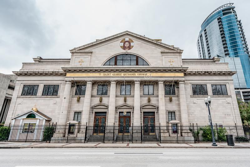 ORLANDO FLORIDA, USA - DECEMBER, 2018: Helgon George Antiochian Orthodox Church royaltyfria bilder