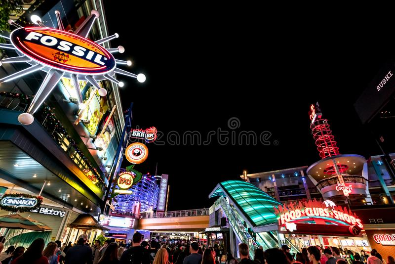 ORLANDO, FLORIDA, USA - DECEMBER, 2017: Highlights of Universal Studios entrance to the theme park at night. ORLANDO, FLORIDA, USA - DECEMBER, 2017: Highlights stock photo