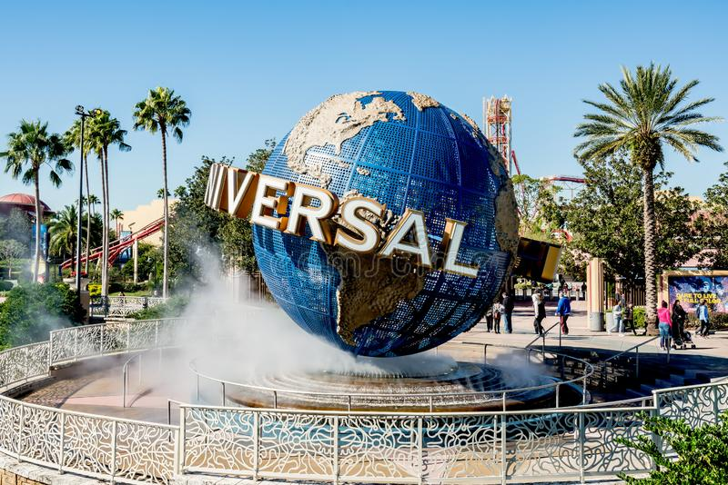 ORLANDO, FLORIDA, USA - DECEMBER, 2017: Iconic Universal Studios globe located at the entrance to the theme park. ORLANDO, FLORIDA, USA - DECEMBER, 2017: Iconic royalty free stock image