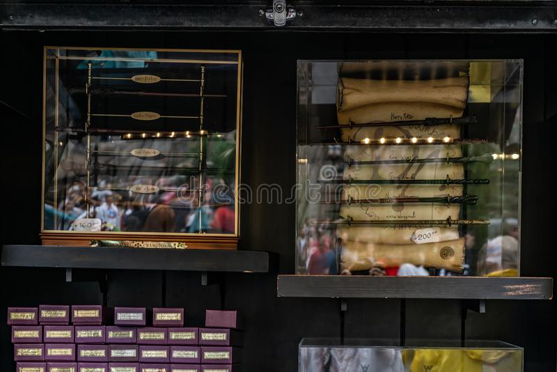 ORLANDO, FLORIDA, USA - DECEMBER, 2018: Magic Wands at Harry Potter Hogsmeade, Wizarding World of Harry Potter in Islands of. Adventure, Universal Studios royalty free stock images