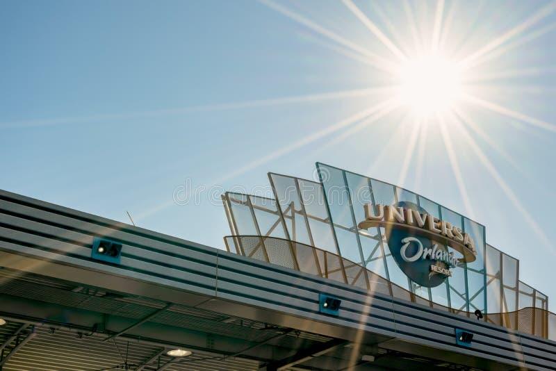 ORLANDO, FLORIDA, USA - DECEMBER, 2017: Universal Studios entrance to the theme park. ORLANDO, FLORIDA, USA - DECEMBER, 2017: Universal Studios entrance to the royalty free stock images