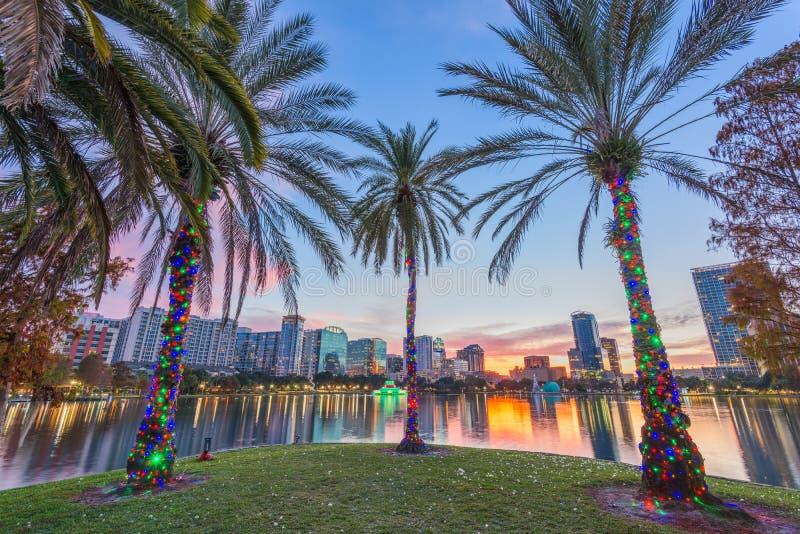 Orlando, Florida, USA. Downtown skyline at Eola Lake stock photography