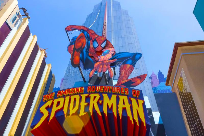 Orlando Florida, USA - Maj 09, 2018: Ingång till SpiderManritten Universella studior Orlando är ett nöjesfält arkivfoton